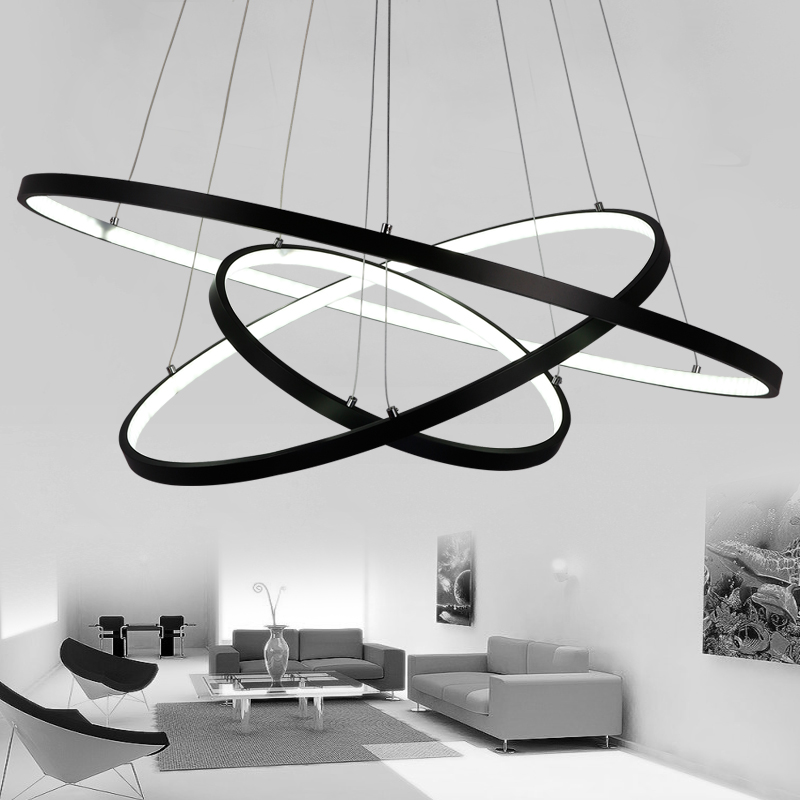 Black White Color Modern pendant lights for living room dining room 4/3/2/1 Circle Rings LED Pendant Lamp hot modern pendant lights for living room dining room office white black wood pendant lamp modernas luces colgantes para comedor