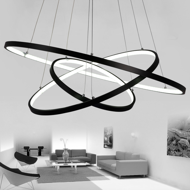 Black White Color Modern Pendant Lights For Living Room Dining Room 4/3/2