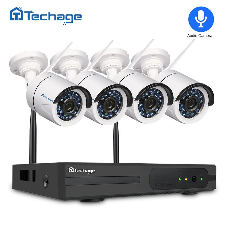 Techage 4CH 1080P 4CH 2MP NVR Gravação de Áudio Sistema de Segurança CCTV Sem Fio Wifi IP Câmera de Vigilância de Vídeo Ao Ar Livre No Interior kit