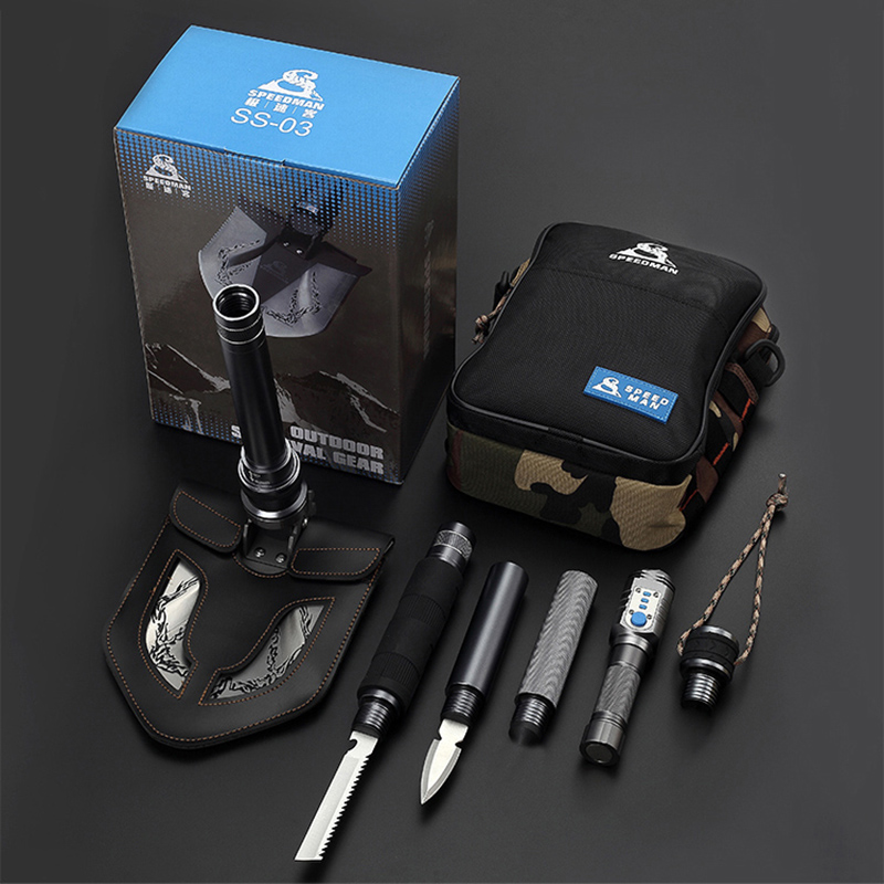 Outdoor Folding Shovel Axe Camping Shovels Tactical With Flashlight Survival Shovel Snow Car Sets Multifunctional Tool