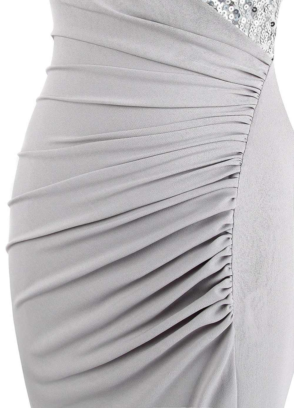 Vestidos de Noche de una sola pieza de color gris de JaneVini Vestidos de Noche de sirena sin mangas Split Lebanon talla grande vestidos de Madre de la novia