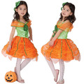 2016 Kid children costumes adorable cute girl's costume for halloween party pumpkin dress cosplay Masquerade clothing