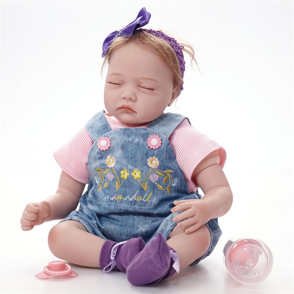 55cm Lifelike Sleeping Princess Girl Reborn Doll Realistic Silicone Newborn Babies Toy with Cloth Body Kids Birthday Xmas Gift