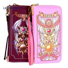 Anime Card Captor Sakura Wallet Cosplay Accessories Coin Purse Cardcaptor Sakura Phone bag Women PU Money Clip Handbags(China)