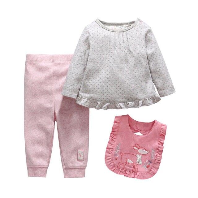 Девушка новорожденный одежда детские девушки одежда набор майка + нагрудники + брюки детской одежды розовый conjunto infantil menina