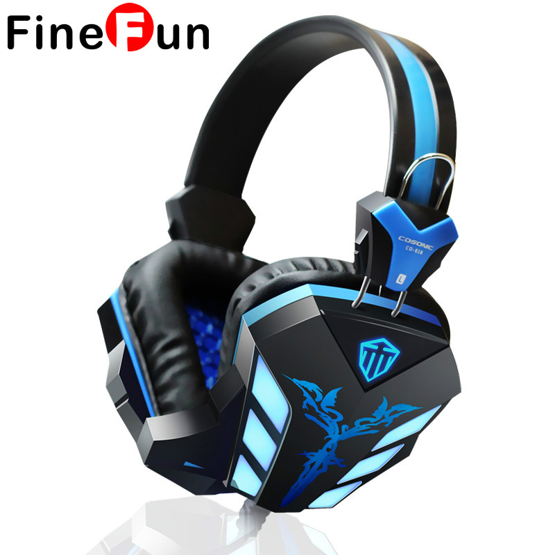 FineFun CD-618 Gaming Headphone USB+3.5mm Gaming Headset Earphone with Microphone Noise Canceling LED Light for PC Gamer cd 618 crack led light cool headphone with microphone bass stereo headset earphone wired usb pro for computer gamer headband pc