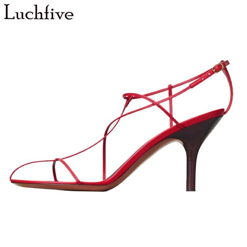 Luchfive новый дизайн красный черный сандалии женщин высокие каблуки ремень открытым носком крест связали повязку вырезать лето обувь женщины