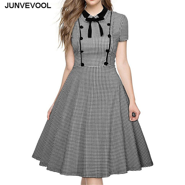 8813357f13e Black White Plaid Vintage Dress Women Casual Summer Office Female Wear To  Work Clothing Elegant Fashion