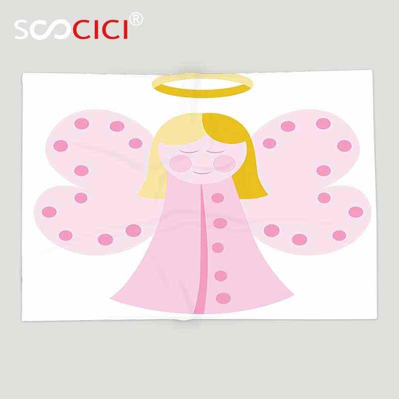 Custom miękki koc polarowy chrzest dekoracje śliczne dziewczyna ze skrzydłami bajki złote włosy modlić się płatników pokoju Saint