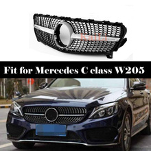 Front Diamond Style Grill Grille Mesh For Mercedes Benz C Class W205 C200 C250 C300 C350 2015-18 Without Camera