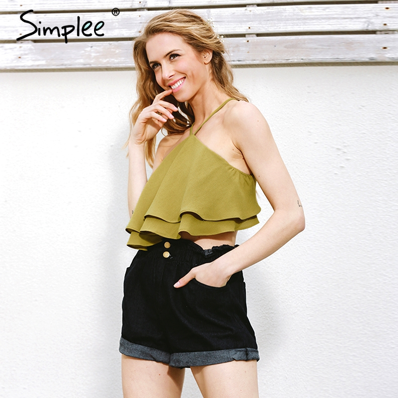 Simplee Ruffle camisole tank top tees Sexy off shoulder stripe halter crop top camis 2017 Causal green summer women tops female
