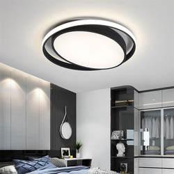 Тусклый круглый светильник Современные светодиодные потолочные светильники для кухни гостиной спальни белый/черный пульт дистанционного