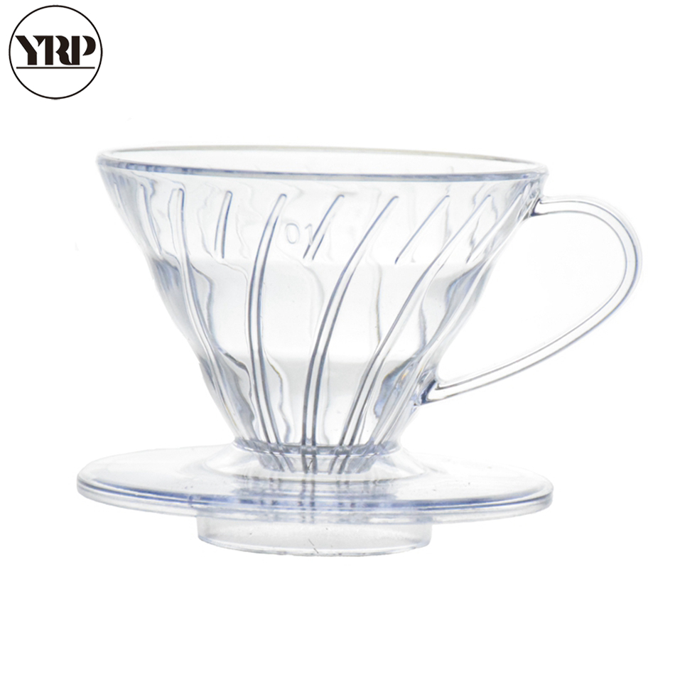 YRP V60coffee Filter Reusable Heat-resistant Resin Coffee Dripper Paper Cone Filters Barista Tools Pour Over Coffee Brewing Cup
