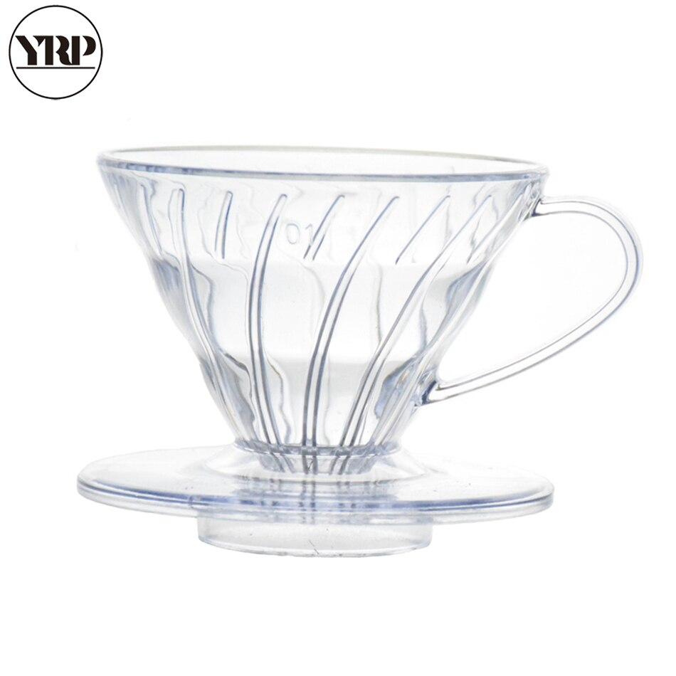 YRP V60coffee filtre réutilisable résistant à la chaleur résine café goutteur papier cône filtres Barista outils verser sur la tasse de brassage de café