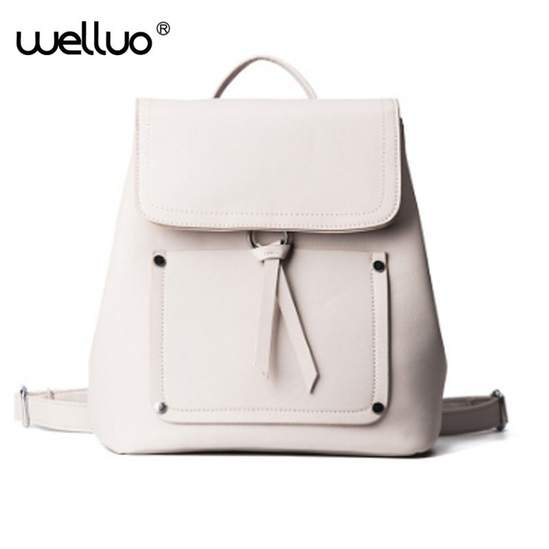 WELLVO Women Leather Backpack Black Bolsas Mochila Feminina Large Girl Schoolbag Travel Bag Solid Candy Color Pink Beige XA750B  new women leather backpack black bolsas mochila feminina girl schoolbag travel bag solid candy color green pink beige