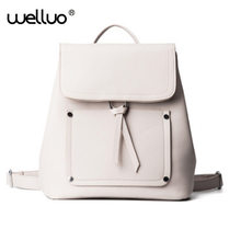 Wellvo Для женщин кожаный рюкзак черный Bolsas Mochila Feminina большой для девочек Школьный Дорожная сумка одноцветное Карамельный Цвет Розовый Бежевый XA750B