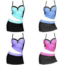 2018 Plus Size Swimwear Sexy Swim Skirt Women Strip Tankini Swimsuit Bathing Vest Suit S-6XL Female Big size Beachwear цены онлайн