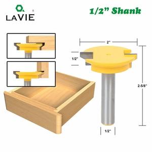 "Image 3 - LAVIE 3pcs 12mm 1/2"" Shank Tenon Router Bits Set Drawer Molding 45 Degree Lock Miter Bit Glue Joint Wood Milling Cutter MC03130"