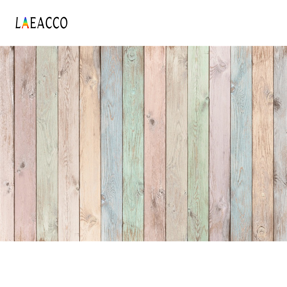 Laeacco Colorful Wooden Background Hardwood Wooden Board Texture Baby Cake Food Portrait Photographic Backdrop For Photo Studio(China)