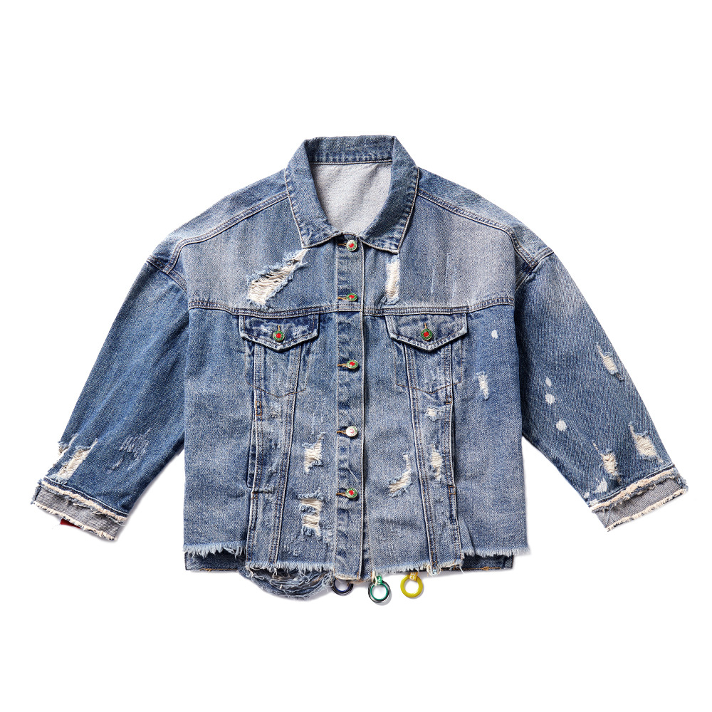 Jeans Style Vintage Courte Femmes De Célébrités Denim Boyfriend Streetwear Veste Déchiré zpOqTp