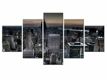 5 pieces / set of Beautiful city landscape wall art for decorating home Decorative painting on canvas Wholesale/XC-City-59