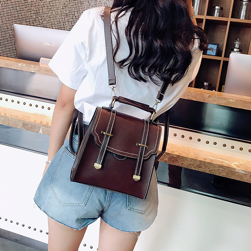 Women Backpack Leather School Bags For Teenager Girls Female Vintage Small Backpack Fashion Double Arrow Shoulder Bags Mochila