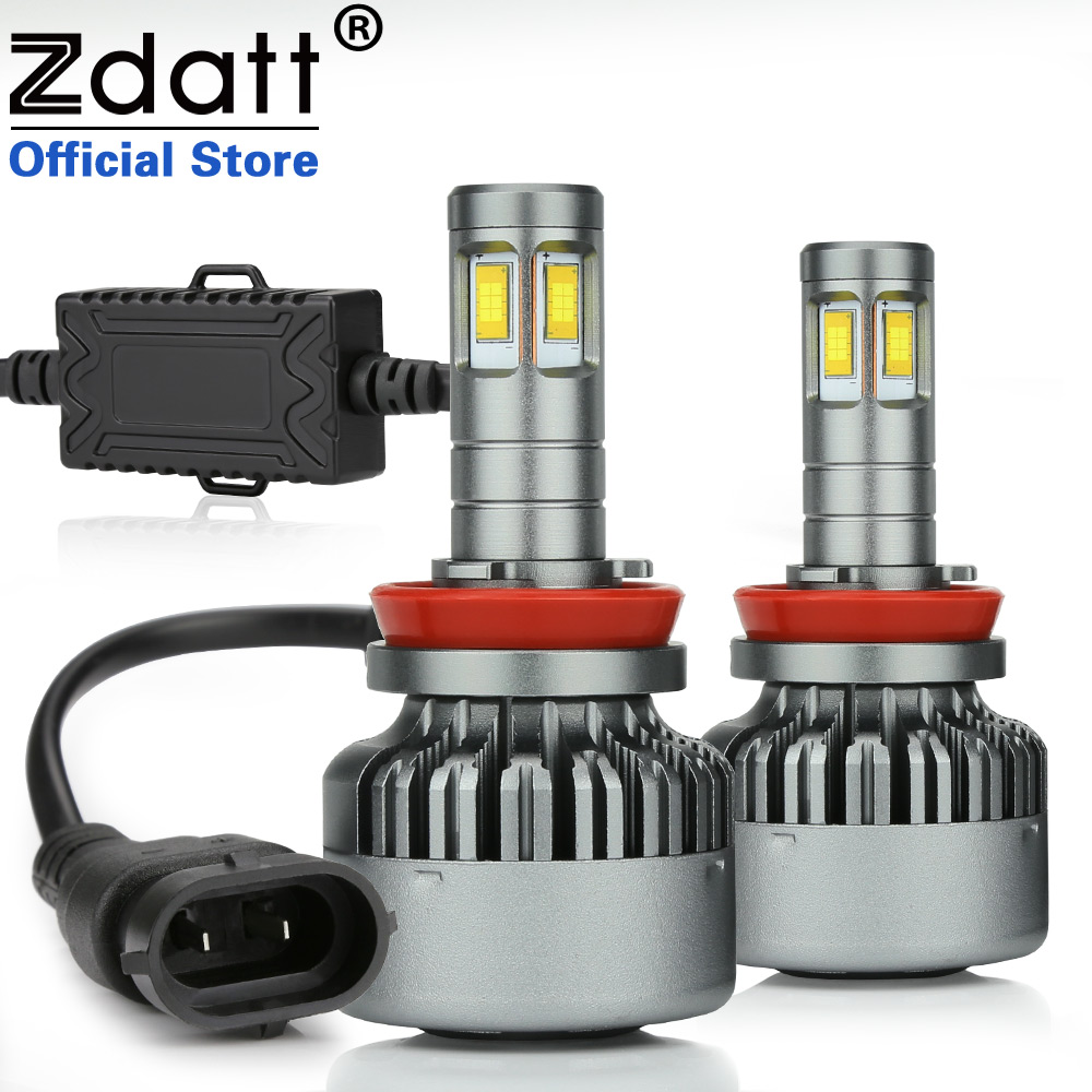 все цены на Zdatt H11 Led Bulb Canbus H8 H9 360 Degree Lighting Hight Power LED Light Auto CSP Led 100W 14400LM Headlight Lamp 6000K онлайн