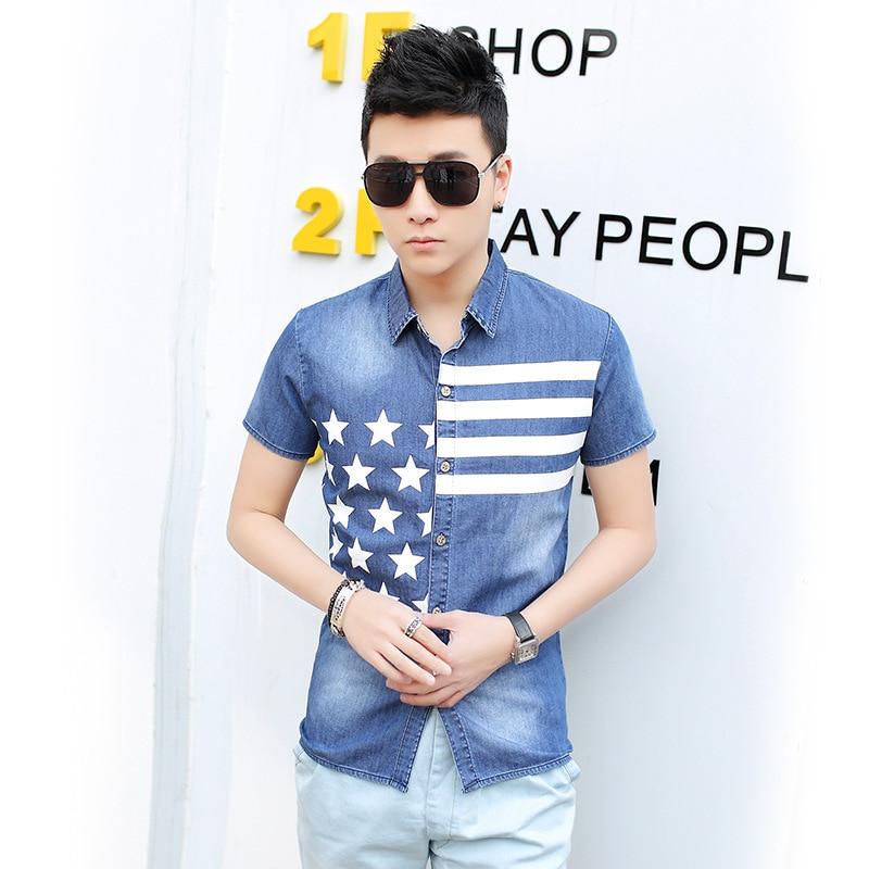 2015 New Brand Mens jeans shirts mens summer fashion short tops young men - E-Fashion Men store