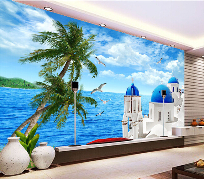 3D wallpaper custom mural non-woven wall paper sticker The Aegean sea TV setting wall painting photo wallpaper for walls 3d 3d wallpaper custom mural non woven 3d room wallpaper wall stickers abstract tree 3 d tv setting photo wall paper for walls 3d