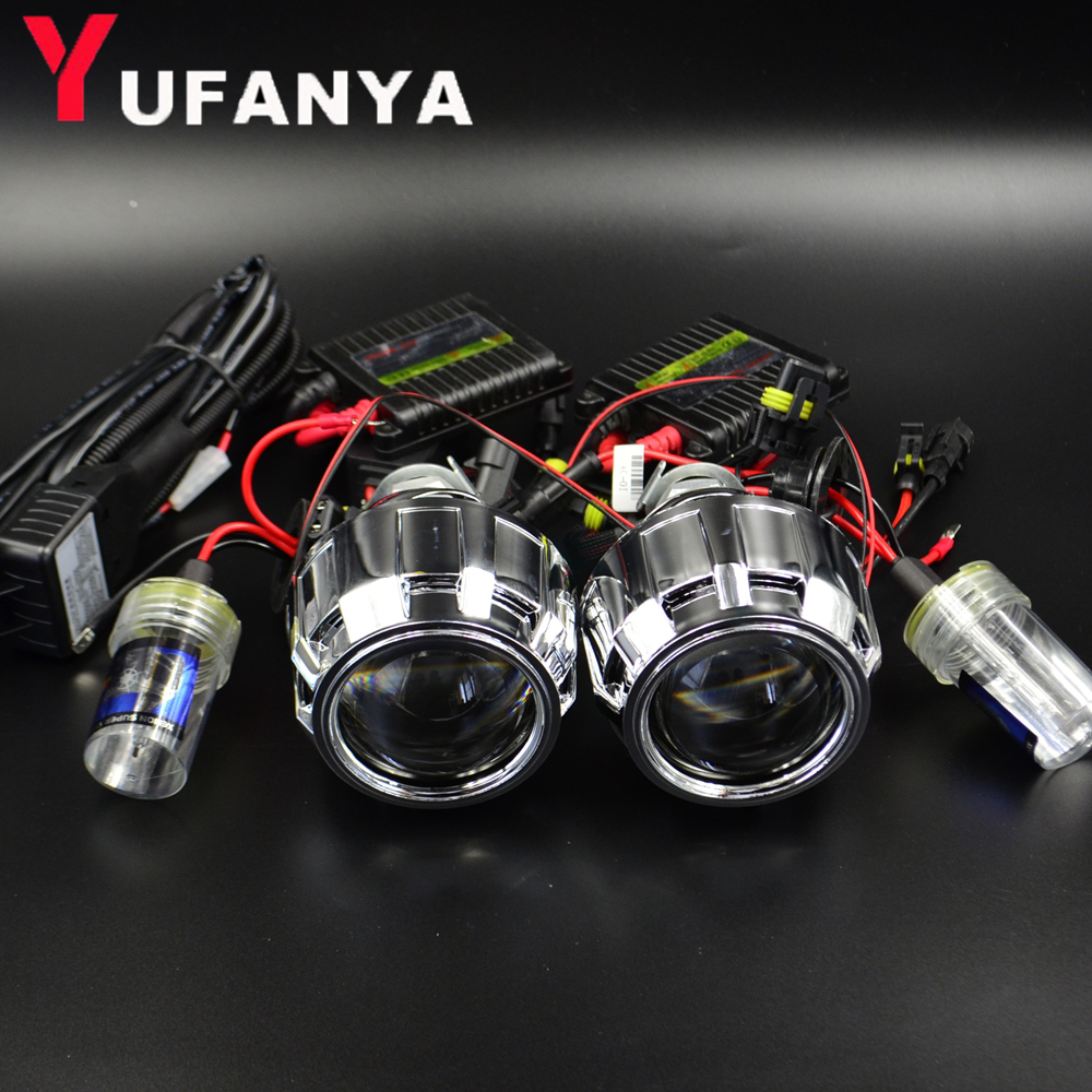 2.5 inch car hid bixenon projector lens 35w xenon ballast xenon bulb car assembly kit fit for h1 h4 h7 model car free shipping lhd 35w 2 8 inch hid bixenon headlight headlamp projector lens full retrofit kit car angle eye halo h7 h4 ballast xenon bulb