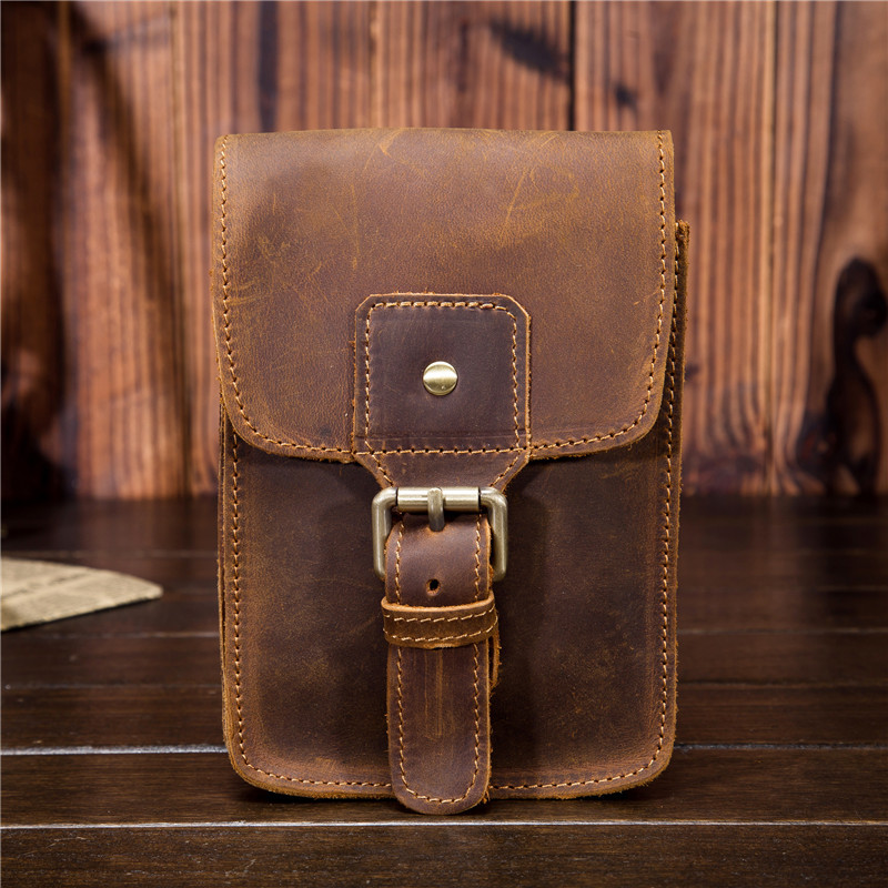 Men's Waist Pack Genuine Leather Pouch Waist Bag For Men Fanny Pack Cow Leather Mini Phone Bag Vintage Big Wallet Belt Loop Hoop