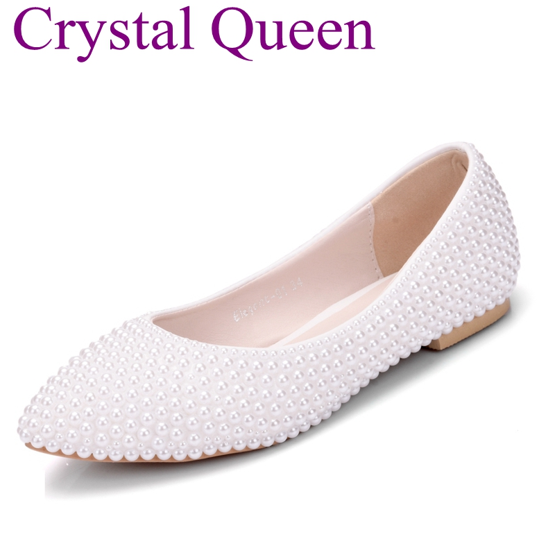Crystal Queen Newest Fashion Full Pearls Women Flats Woman Shoes Ballet Flats Wedding Shoes Plus Size