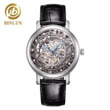 BINLUN 男性のスケルトン腕時計自動高級本革防水腕時計スケルトンダイヤル男性の機械式時計