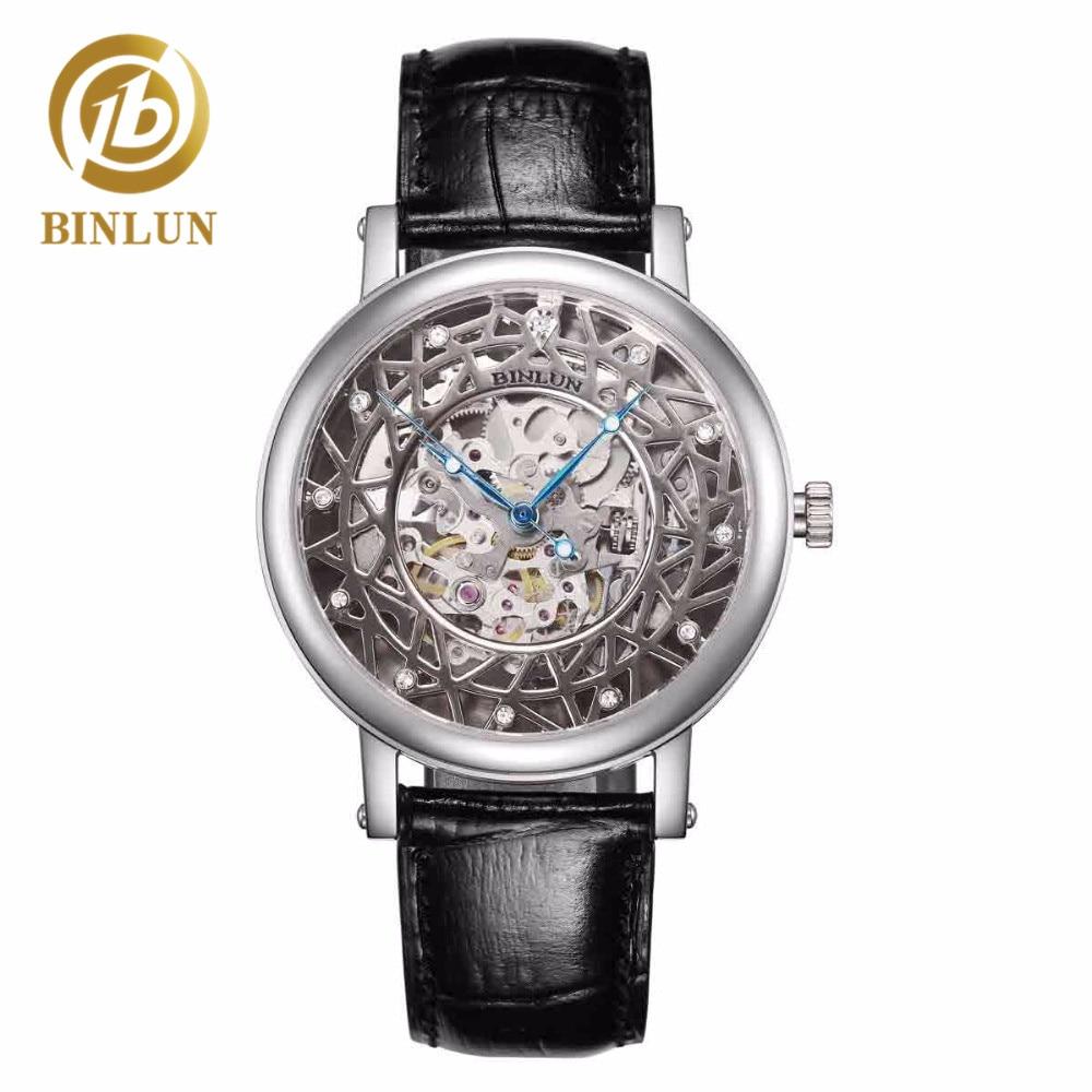 BINLUN Reloj automático para hombre Esqueleto de lujo, cuero - Relojes para hombres