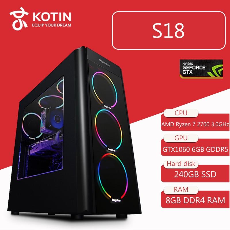 KOTIN S18 AMD Gaming Desktop PC AMD Ryzen 7 2700 GTX1060 6G Video 240GB SSD 8GB RAM 6 RGB Fans PUBG 500W PSU Computer Windows10