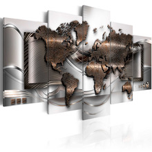 5 Pieces Abstract World Map Canvas Art Print Golden Metallic  Maps Painting Poster Wall Picture for Home Decor Framed PJMT-39