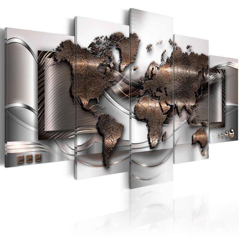 5 шт. абстрактная карта мира холст Художественная печать золотой металлик карты живопись плакат Настенная картина для домашнего декора в рамке PJMT-39