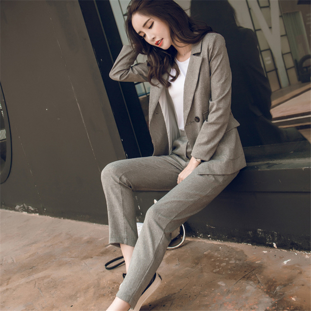 Two piece Women Casual Blazer High Waist Office Lady Jacket Pant Suits