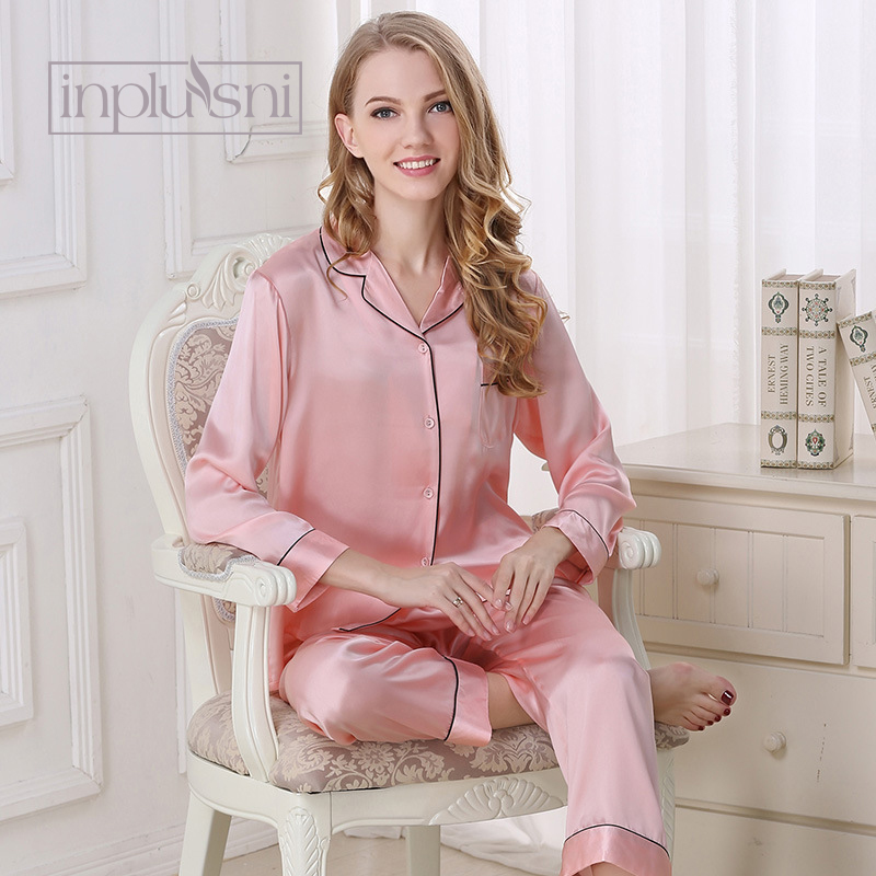6e428d09d01 Inplusni женский Шелковый пижамный комплект 100% Шелковая пижама 2019 Лето  из двух предметов пижамы для