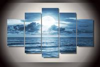 HD Printed Full Moon Moonlight Sea Ocean Painting Canvas Print Room Decor Print Poster Picture Canvas