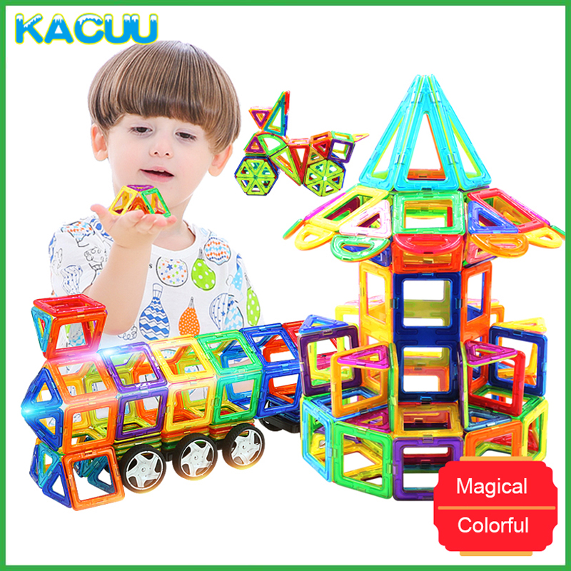 цена на KACUU 71-149PCS DIY Constructor Big Size Magnetic Building Blocks Designer Square Triangle Enlighten Bricks Toys For Children