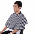 Soft Cloth Vertical Stripe Hair Cutting Barber Cape Hairdressing Salon Gown Bib Apron Uniform Cutting Hair Apron