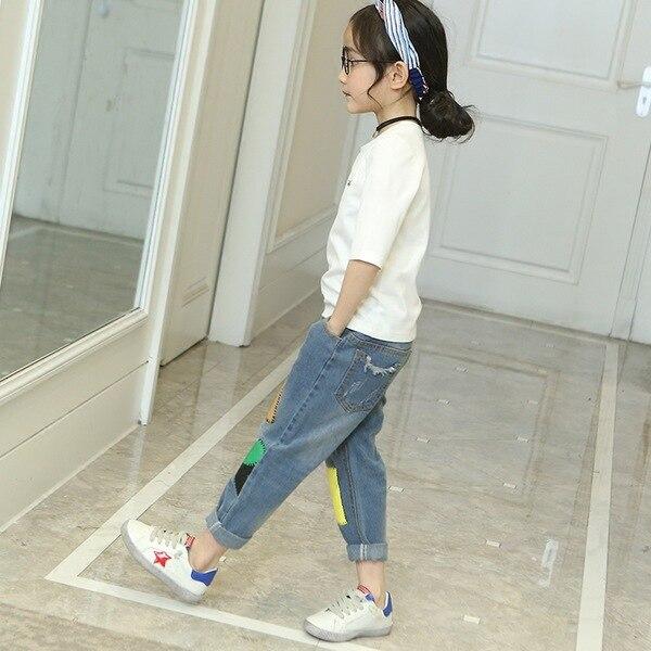 Wiosna 2019 Nowe Dziewczyny Dżinsy Koreański Geometryczne - Ubrania dziecięce - Zdjęcie 5