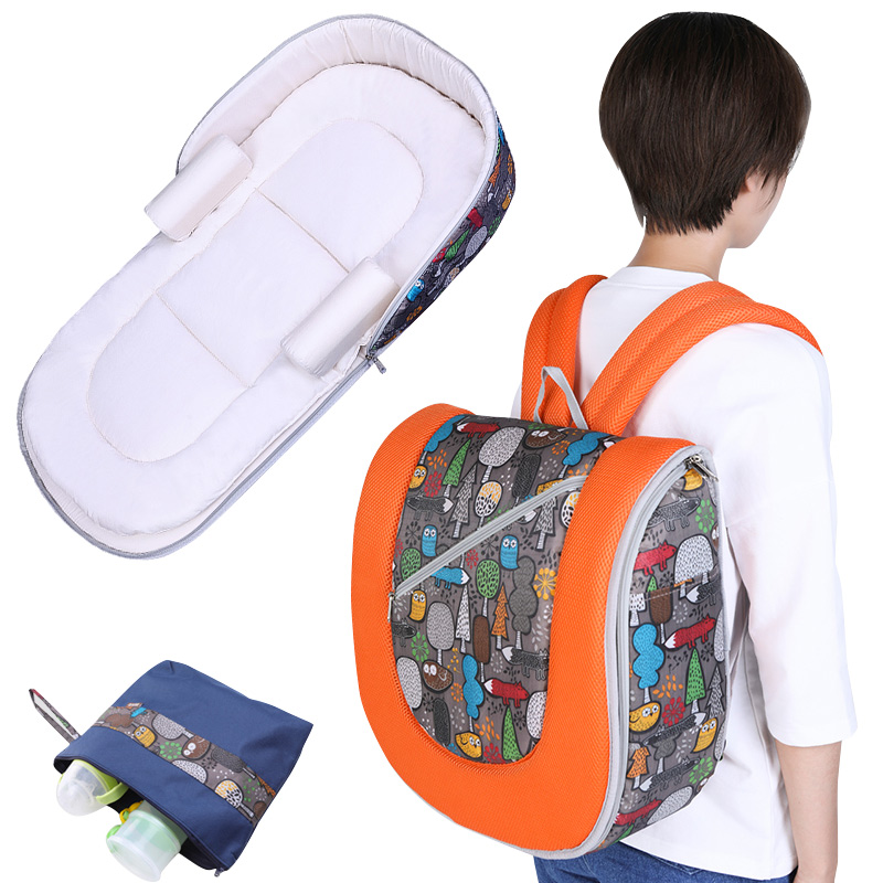 Multi-function Mummy Maternity Nappy Bag Backpack Foldable Portable Baby Crib Co-Sleepers For Newborn Folding Bed Cot For Travel  цена и фото