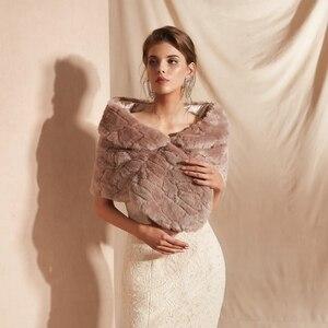 Image 2 - Fur Stole Bridal Bolero Nữ Nhún Vai Faux Lông Khăn Choàng Đám Cưới Áo Khoác Đi Bộ Bên Cạnh Bạn Bên Buổi Tối Áo Choàng Lông Bọc Tối màu hồng
