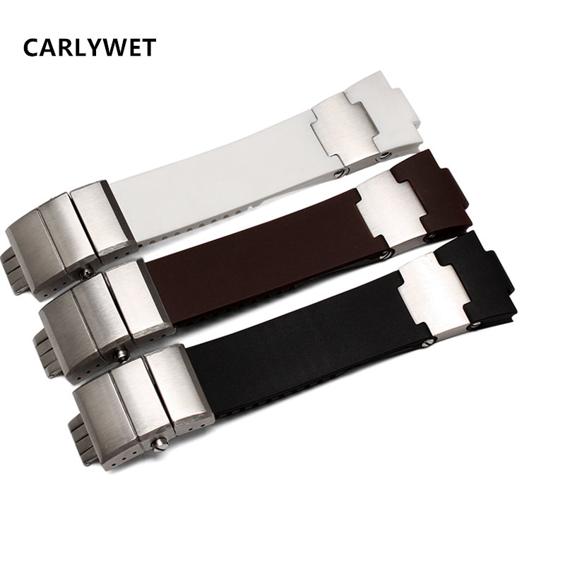 CARLYWET 25mm x 12mm(20mm buckle)Black Brown White Waterproof Silicone Rubber Watch Band Strap Silver Buckle Clasp Luxury high quality 25 12mm black brown white rubber watchnand soft strap bracelet butterfly waterproof buckle for men s brand band