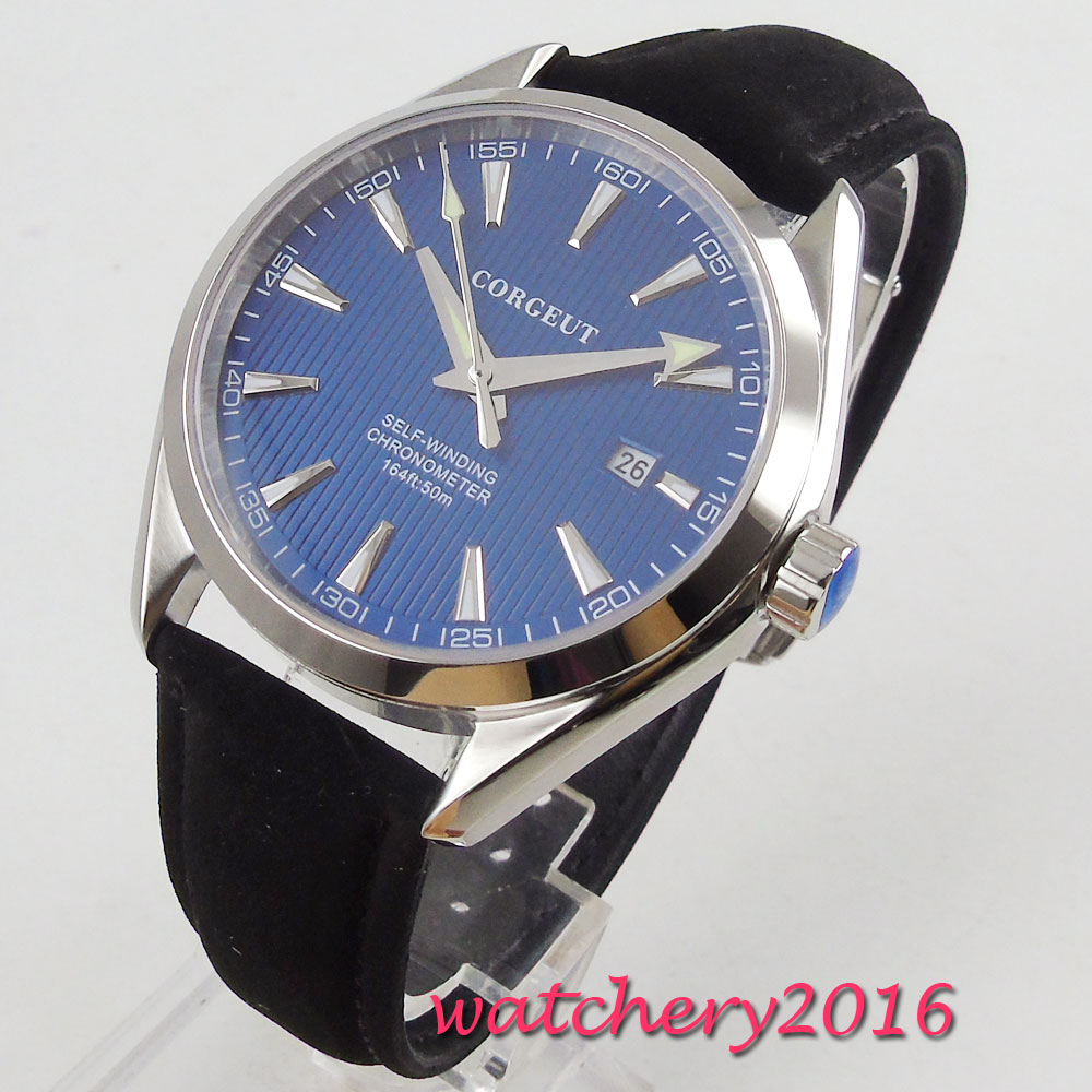 41mm Corgeut Blue Dial Sapphire Glass Polished Case Top Brand Luxury 21 Jewels Miyota Automatic Movement men's Watch 41mm corgeut black dial sapphire glass miyota automatic movement mens watch c03