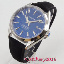 цена 41mm Corgeut Blue Dial Sapphire Glass Polished Case Top Brand Luxury 21 Jewels Miyota Automatic Movement men's Watch онлайн в 2017 году