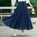 Azul Marinho De Cintura Alta Com Zíper sólida Com Arco Chiffon Plissado Balanço Grande Saia de Verão Primavera Bohemail Elegaon Mulheres Saias
