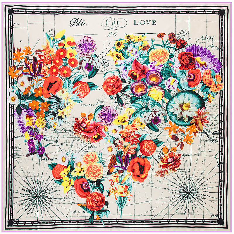 2018 new fashion 100 silk scarf women 39 s Love Flower World Map print hight quality scarf scarves large shawl headscarf 130 130cm in Women 39 s Scarves from Apparel Accessories